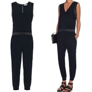 Vince | Blue Crepe Slim Leg Jumpsuit With Pockets